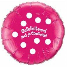 Folieballon 45cm communie Polka Dots - Fuchsia