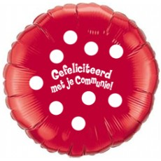 Folieballon 45cm communie Polka Dots - Rood