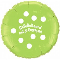 Folieballon 45cm communie Polka Dots - Groen