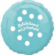 Folieballon 45cm communie Polka Dots - Lichtblauw