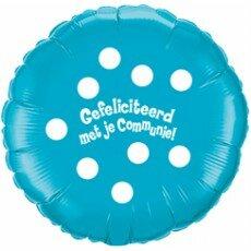 Folieballon 45cm communie Polka Dots - Blauw