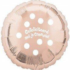 Folieballon 45cm communie Polka Dots - Rose Gold