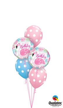 boeket polka dots flamingo birthday