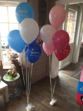 Ballonnentros verjaardag 5 ballonnen met voetje