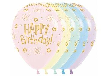 ballon 11 inch Happy Birthday met helium en high float (houdbaarheid 1 week)