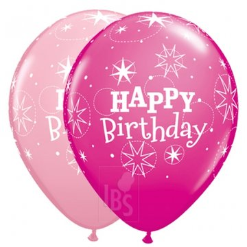 ballon 11 inch Happy Birthday met helium en high float (houdbaarheid 1 week)