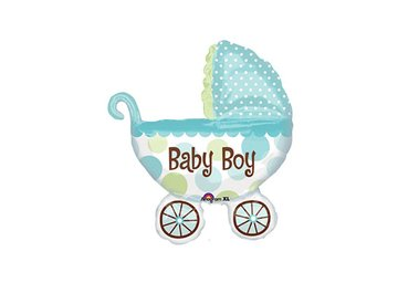 Folieballon baby buggy boy 79cm