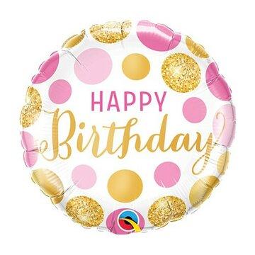 folieballon Birthday 18 inch pink = 46cm dubbelzijdig bedrukt