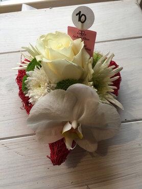 bloemstukje mini hartje witte tinten