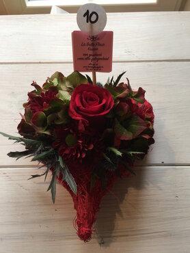 bloemstukje mini hartje rode tinten