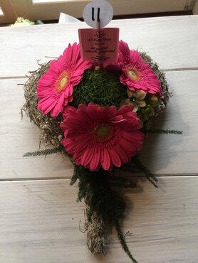 bloemstukje hartje klein roze tinten