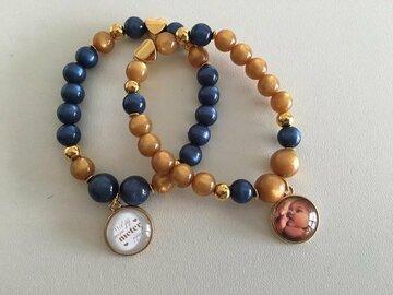 armband blue and gold met foto naar keuze