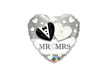 Folieballon Mr en Mrs 18 inch = 46cm dubbelzijdig bedrukt