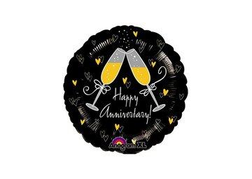 Folieballon Happy Anniversary = 46cm dubbelzijdig bedrukt