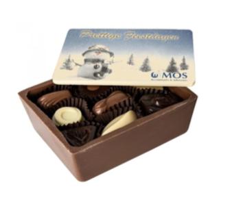 Chocolade bakje 100x127 met opdruk plaatje - gevuld met 230gr. pralines