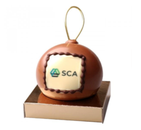 Chocolade kerstbal met opdruk