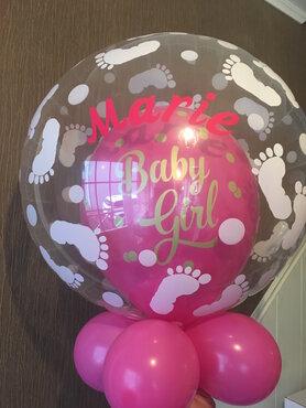 Ballon Double Bubble Girl gepersonaliseerd met naam