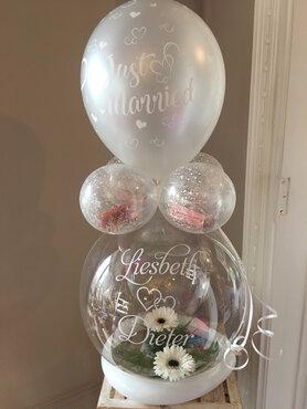 Aqua ballon huwelijk met bloemen, gepersonaliseerd