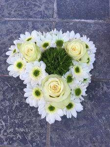 Klein hartje in witte en groene tinten
