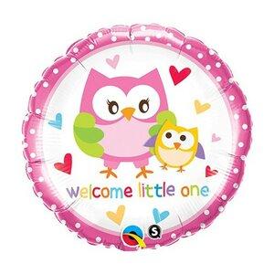 Folieballon Welcome little one18 inch = 46cm dubbelzijdig bedrukt
