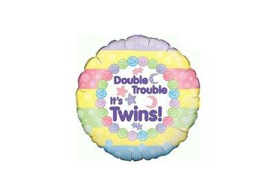 Folieballon twins 18 inch = 46cm dubbelzijdig bedrukt