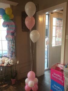 ballonstaander op voet baby girl met 3 ballonnen
