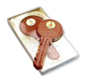 Chocolade sleutel 12cm met opdruk