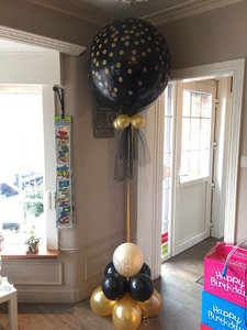 Ballonstaander met grote topballon black and gold