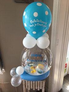 Aqua ballon communie met badeendjes en 25 euro cash geld