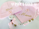 Fopspeenketting pink and gold_