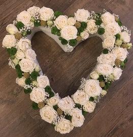 Open hart witte en groene tinten