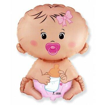Folieballon baby pink 18 inch = 46cm dubbelzijdig bedrukt