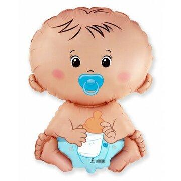 Folieballon baby blue 18 inch = 46cm dubbelzijdig bedrukt