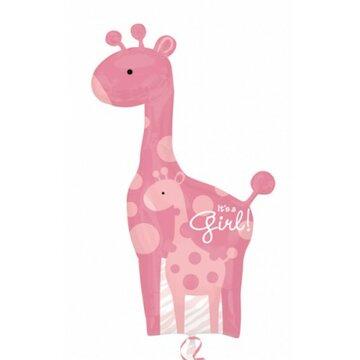 Folieballon giraf girl 42 inch = 106cm dubbelzijdig bedrukt