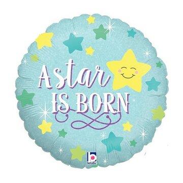Folieballon Boy 18 inch A star is born = 46cm dubbelzijdig bedrukt