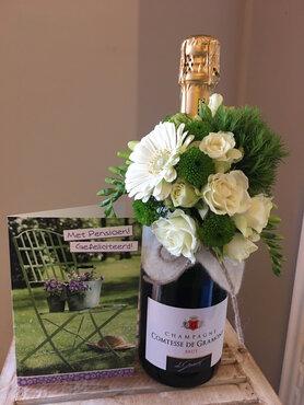 1 - Champagnefles met bloemen