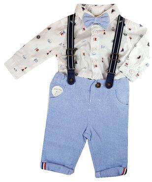 hemdje met strikje en blauw katoenen broekje met bretellen