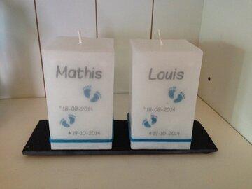 doopkaars model 7 - duo 7,5 x 7,5 x 13cm
