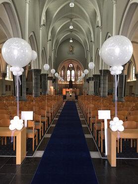 Kerkdecoratie reuzeballon just married