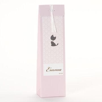 Kat roze Hoog tasje met pareltje zelfklevend