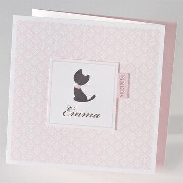 Kat roze geboortekaartje