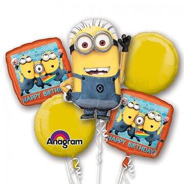 Minions boeket 5 ballonnen 95cm