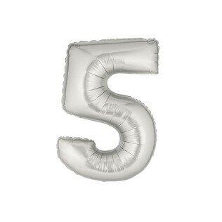 Folieballon cijfer 5 - zilver - 35cm