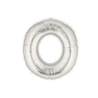 Folieballon cijfer 0 - zilver - 35cm