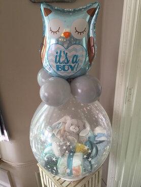 Stuffer ballon Baby met topballon in folie