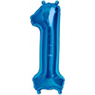 Folieballon cijfer 1 blauw - 34 inch = 86cm