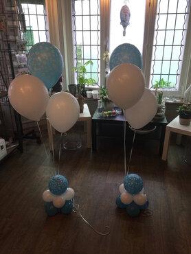 ballonstaander op voet baby boy met 3 ballonnen