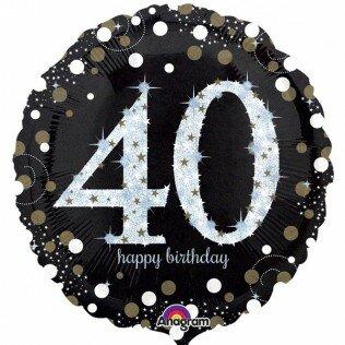 1- folieballon Birthday 18 inch (40 jaar) = 46cm dubbelzijdig bedrukt