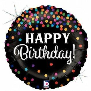 1- folieballon Birthday 18 inch confetti = 46cm dubbelzijdig bedrukt