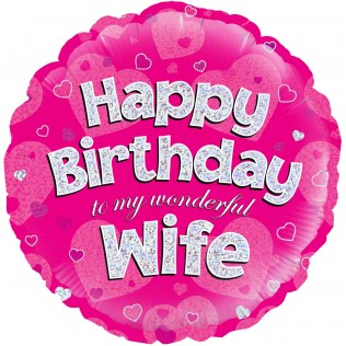 1- folieballon Birthday 18 inch wife = 46cm dubbelzijdig bedrukt